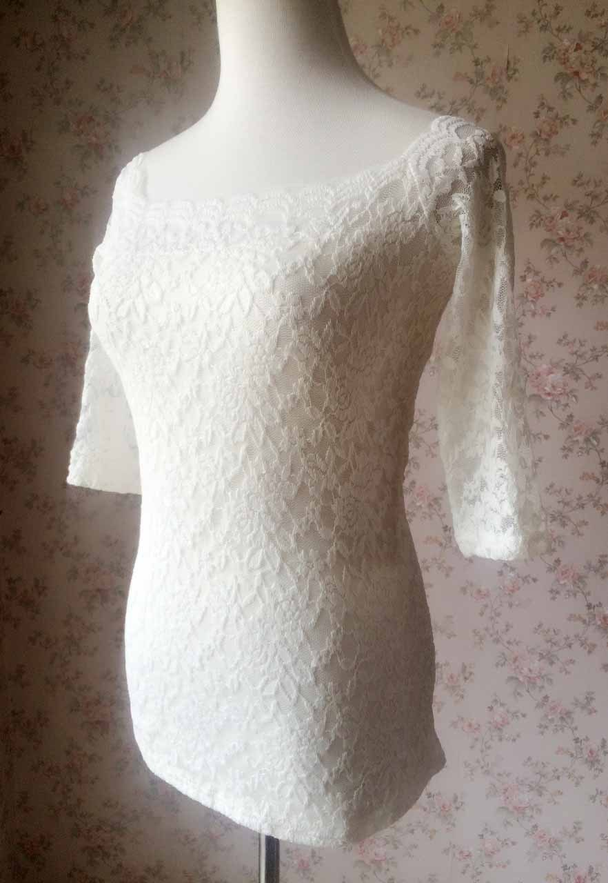 Ivory White Lace Top Floral Crop Sleeve Lace Bridesmaid Blouse Petite US2 -US28