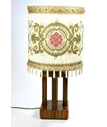 Mid Century Modern Teak Table Lamp Custom Fabric Brocade Lamp Shade + Di... - $197.99