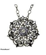 Flower Mandala Necklace Pendant Silver Blue Black Rhinestone Boho Gothic... - $19.99