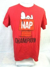 PEANUTS T Shirt Unisex Snoopy Nap Champion cotton red sleep doghouse bea... - $12.73