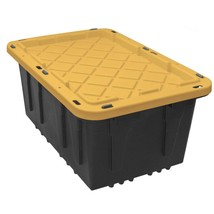 17 Gallon Large Storage Tote Heavy Duty Lockable Lid Black Bin Container... - $48.07
