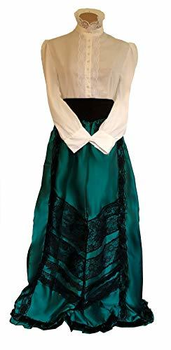 Edwardian Historical Cosplay Costume Skirt Blouse and Belt Set (L/XL, Teal Green