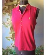 Ralph Lauren Red Raspberry Sleeveless Cotton T-shirt Blouse Size Large New - $38.61