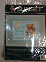 Sunset Baby Hugs Counted Cross Stitch Kit Cuddly Bear Birth Record NEW - $15.27