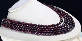 5 LINE 1057 CARATS NATURAL GARNET FANCY GEMSTONE LADIES BEADS NECKLACE image 2