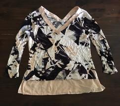 Calvin Klein Womens Top L Black Peach Purple Layered V Neck/Back Blouse Shirt - $14.03
