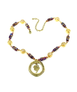 Women New Champagne Violet Glass Crystal Gold Clover Pendant Necklace - $29.00
