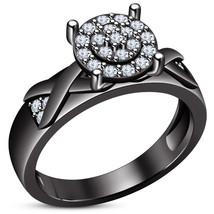 Round Cut Diamond Black Gold Over Engagement Wedding Ring - $78.99