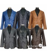 Blazer leather jacket Suit style Single breasted Cut lapel Gents Coat fo... - $198.61+