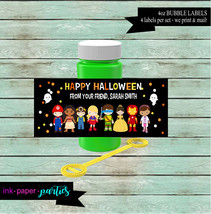 Halloween Kids Characters or Birthday Party 4 oz. Bubble Labels Wrappers... - $3.50