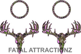 Pink Camo Deer S4 Cornhole Pack Vinyl Decal Sticker buck rack bean bag game - $32.76