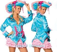 Sexy 3pc Roma Costume Caribbean Turquoise Pirate Dress, Jacket, Hat, Ski... - $49.99