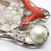 Silver Pendant 925 Cameo Cameo, Women's, Branch Red Coral, Flowers, Butterfly image 7