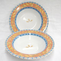PTS Interiors Sanibel 2 Soup Bowls SP-RD-B Coral Rim w Yellow Leaves Blu... - $14.84