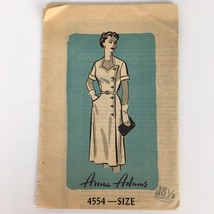 1950s Anne Adams Womens Dress Sewing Pattern 4554 Size 18 1/2  VTG - $12.56