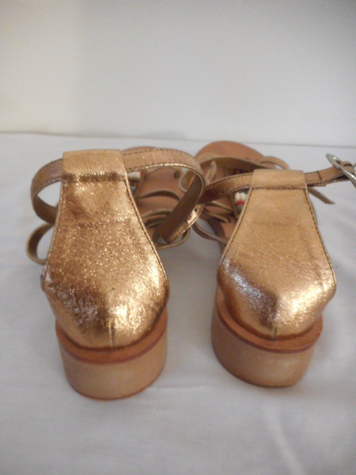 "EUC Bronze Womens Size 8 Sandal 1 1/4"" heel"