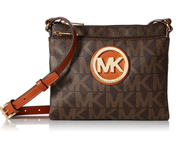 Michael Kors Fulton Large Crossbody MK Signature PVC Brown - $129.95