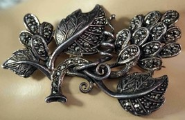 Sterling Silver and Marcasite Brooch / Pin Grape Clusters & Leaves - $25.99