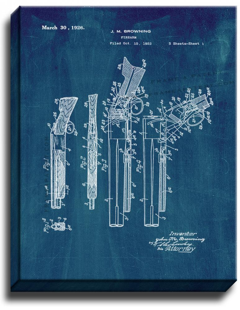 Primary image for Browning Superposed over/under shotgun Patent Print Midnight Blue on Canvas
