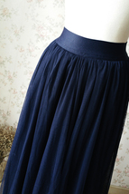 NAVY BLUE Elastic Waist Tulle Maxi Skirt Navy Wedding Bridesmaid Skirts Floor image 3