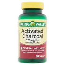 Spring Valley Activated Charcoal, 520mg, Capsules, 60 Count. - $16.82