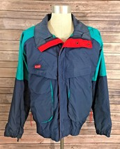 Columbia Coat Mens Size XL Ski Winter Snow Retro Zip Up 90s Blue Green Red - $27.71