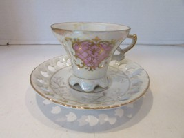 ROYAL CROWN CHINA 4660 TEACUP AND MATCHING SAUCER PEARLIZED PINK GOLD PI... - $14.80