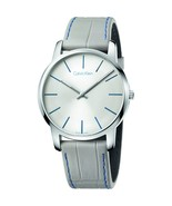Calvin Klein K2G211Q4 City Swiss Made Silver Dial Men's Leather Watch - $132.04