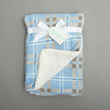Baby boys or girls large plaid sherpa blanket crib bedding B319 - $15.39 CAD