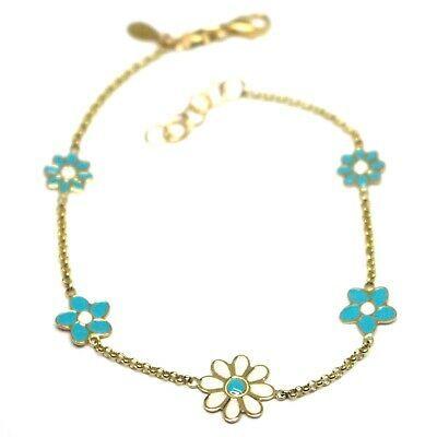 """18K YELLOW GOLD GIRL BRACELET ENAMEL WHITE & BLUE FLOWERS DAISY, 6.3"""", 16cm"""