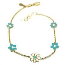 """18K YELLOW GOLD GIRL BRACELET ENAMEL WHITE & BLUE FLOWERS DAISY, 6.3"""", 16cm image 1"""