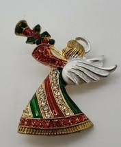 Vintage gold tone enamel rhinestone red green Christmas holiday Angel br... - $19.31