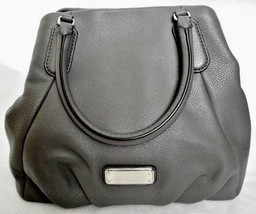 MARC JACOBS 2 PC NEW Q FRAN GREY ITALIAN LEATHER SHOULDER BAG & WRISTLET... - $368.00