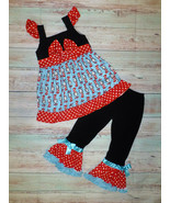 NEW Dr Seuss Cat in the Hat Ruffle Tunic Dress Girls Boutique Outfit Set  - $22.99
