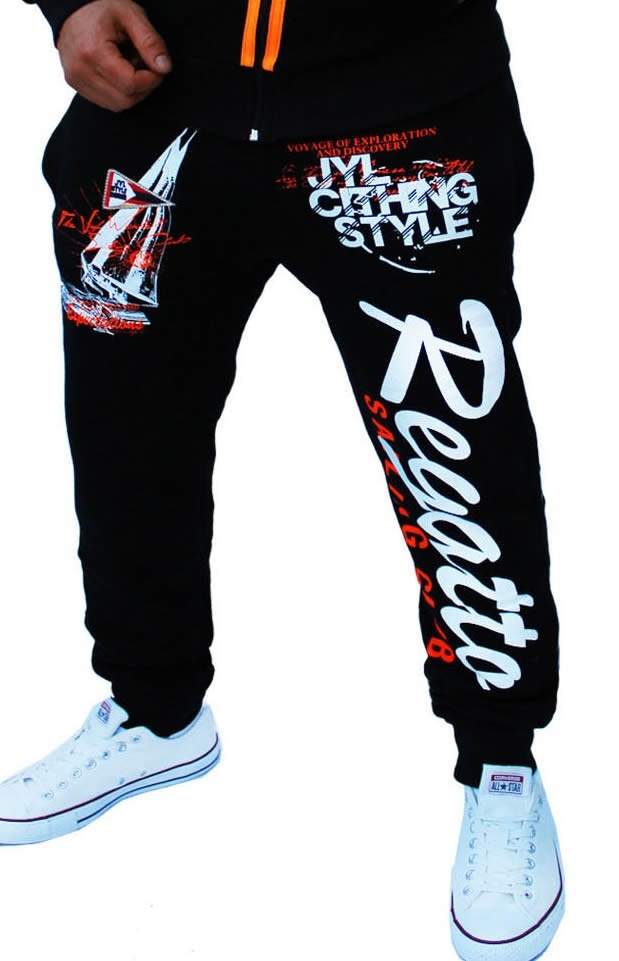 Men Sport Tracksuit Casual Letter Printed Hoodie Coat Leisure Trousers for Male