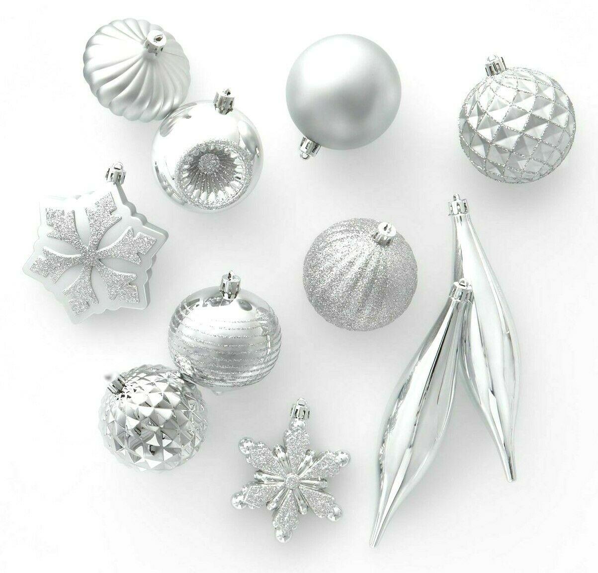 40ct Silver Shatter Proof Resistant Christmas Tree Ornament Set Wondershop NEW