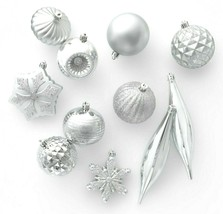 40ct Silver Shatter Proof Resistant Christmas Tree Ornament Set Wondershop NEW image 1