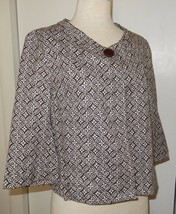 Talbots Stretch Brown And White Swing Jacket Size 8 - $16.99