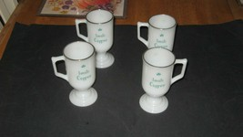 Vintage Milk Glass Pedestal Mugs Irish Coffee / Tea / Cocoa Cups 8oz Se... - $9.89