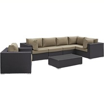 Convene 7 Piece Outdoor Patio Sectional Set Espresso Mocha EEI-2157-EXP-... - $2,246.75