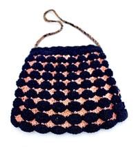 1930s CORDE GIMP CROCHET VINTAGE PURSE Mini BAG Pink & Blue SWEET! - $26.42