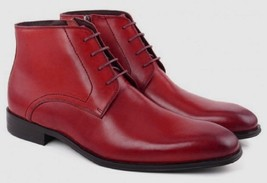 Customize Fire Red Color Nice Looks Palpable Leather Men Chukka Ankle Boots - $149.99+