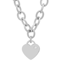 PIATELLA Unisex Stainless Steel heart necklace adorned with Swarovski Cr... - $14.99