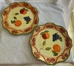 "Tabletops Unlimited Medici 2 Round Dinner Plates Rust Fruit 92521 Scrolls 11"" - $39.99"