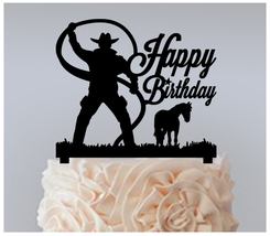Birthday Cake topper,Cupcake topper,silhouette cowboy-lasso Package : 11 pcs - $20.00