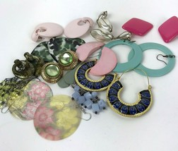 Vtg Earring lot pierced colorful post dangler boho hippy mixed materials... - $14.84