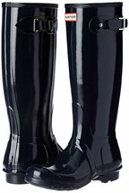 Hunter Original Tall Wellington Welly Navy Gloss Boots WFT1000RGL 7 New in Box