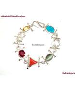 MahaShakti Ratna Kavacham / Seven Gemstone Bracelet In Silver  - $485.00