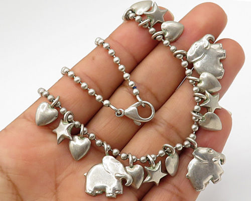 "Primary image for 925 Sterling Silver - Vintage Elephant Lover Ball Chain 16"" Necklace - N1616"