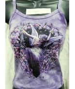 Gatekeeper Fairy with Flowers Hand Dyed Purple Spaghetti Strap Shirt UNWORN - $16.39+